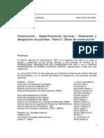 NCh 1156-3.Of1999 Construccion - Especificaciones tecnicas - Ordenacion y designacion de Partidas.pdf