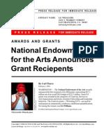National Endowment For The Art (NEA) Announces Grant Reciepents 2004