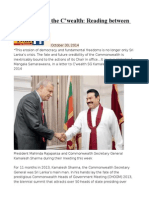 Sri Lanka and the C'Wealth Reading Between the Lines