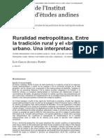 Ruralidad Metropolitana. Entre La Tradición Rural y El «Brillo» Urbano