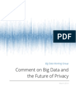 Comment on Big Data Future of Privacy