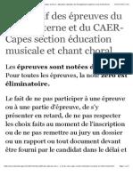 Descriptif Des Épreuves Du Capes Interne Et Du CAER-Capes Section Éducation Musicale Et Chant Choral - Ministère de l'Éducation Nationale, De l'Enseignement Supérieur Et de La Recherche