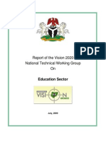Report of the Vision 2020 National Technical Working Group on Education Sector in Nigeria