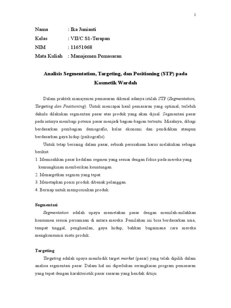Analisis Stp Segmentation Targeting Positioning Kosmetik Wardah