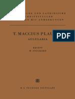 Walter Stockert (Ed.) - T. Maccius Plautus. Aulularia (1983)