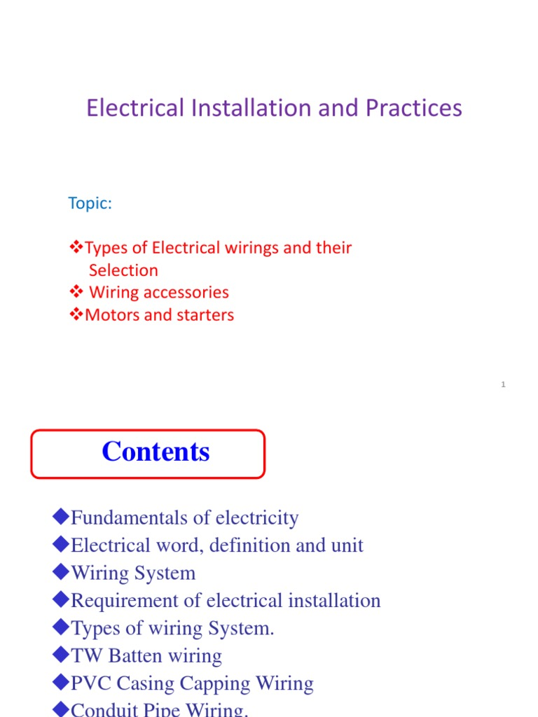 3 Types of Wirings Ppt | Electrical Wiring | Electric Motor