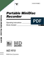 MiniDisc Sony Mzr70 Manual