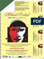"""Afis Concursul National de Interpretare si Creatie a Piesei de Teatru intr-un Act """"Mihail Sorbul"""""""