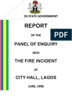 Report of the Panel of Enquiry Into The Fire Incident at City Hall, Lagos , June, 1998-