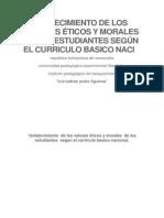 Fortalecimiento de Los Valores Éticos y Morales de Los Estudiantes Según El Curriculo Basico Naci