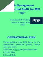 Risk Management and Internal Audit