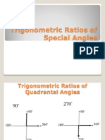 Trigonometric Ratios of Special Angles