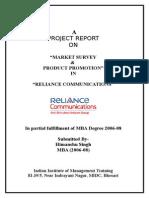 Market Survey Product Promotion in Reliance Communication