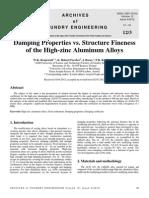 Damping Properties vs Structure Fineness of the High Zinc Aluminum Alloys