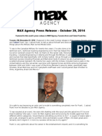MAX Agency Press Release – October 29, 2014