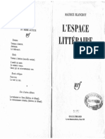 Blanchot Maurice - L' Espace Litteraire