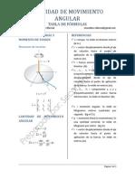 Cantidad de Movimiento Angular- Tabla de Formulas