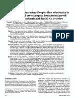 How Useful is Uterine Artery Doppler Flow Velocimetry in Prediction Preclamsia Intrauterine Growth Retartion 2014