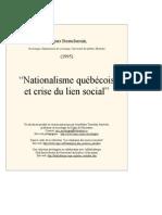 """""""Nationalisme québécois  et crise du lien social"""""""