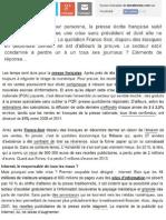 Les Temps Durs de La Presse Francaise (Article Niveau B1-B2)