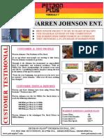T - Petron Plus P-1 Testimonial - Warren Johnson Ent