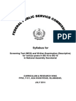 Syllabus for Consolidated Adv No. 06-2014 for Posts of National Assembly