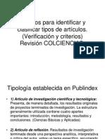 Criterios para identificar y clasificar tipos de articulos