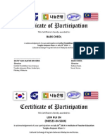 KOREA Certificate of Participation