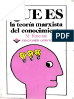 Qué es la teoria del conocimiento [Rosental, M]