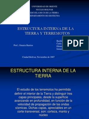 Diapositivas De Estructura Interna De La Tierra Temblores