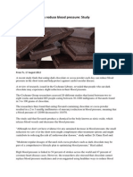 Dark Chocolate May Reduce Blood Pressure
