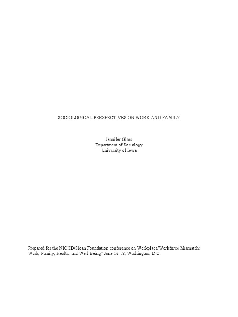 Sociological perspectives on work and family gender role family biocorpaavc