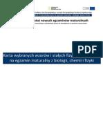 Chemia Karta Wzorow i Stalych Biologia Chemia Fizyka