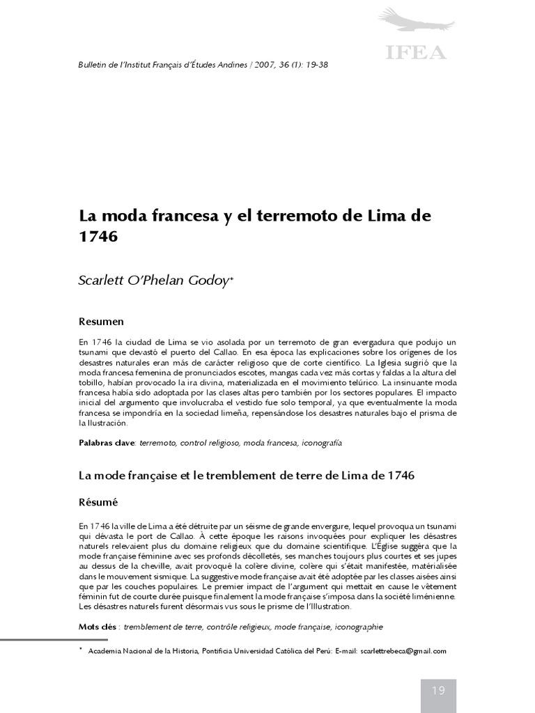 La Moda Francesa y El Terremoto de Lima de 1746 | Bracelet | Vêtements