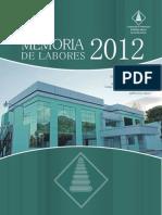 Memoria de Labores 2012.