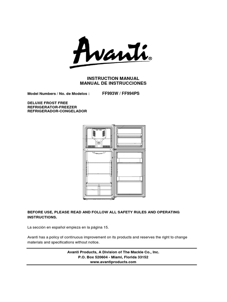 Avanti Fridge Instructions Manual (Model FF993W) | Refrigerator | Ac Power  Plugs And Sockets
