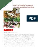 Meeriyabedda Landslide Tragedy Politicians Fail to Prevent, Despite Professional Warnings