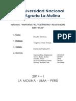 """AMPERÍMETRO, VOLTÍMETRO Y RESISTENCIAS ELÉCTRICAS"""""""