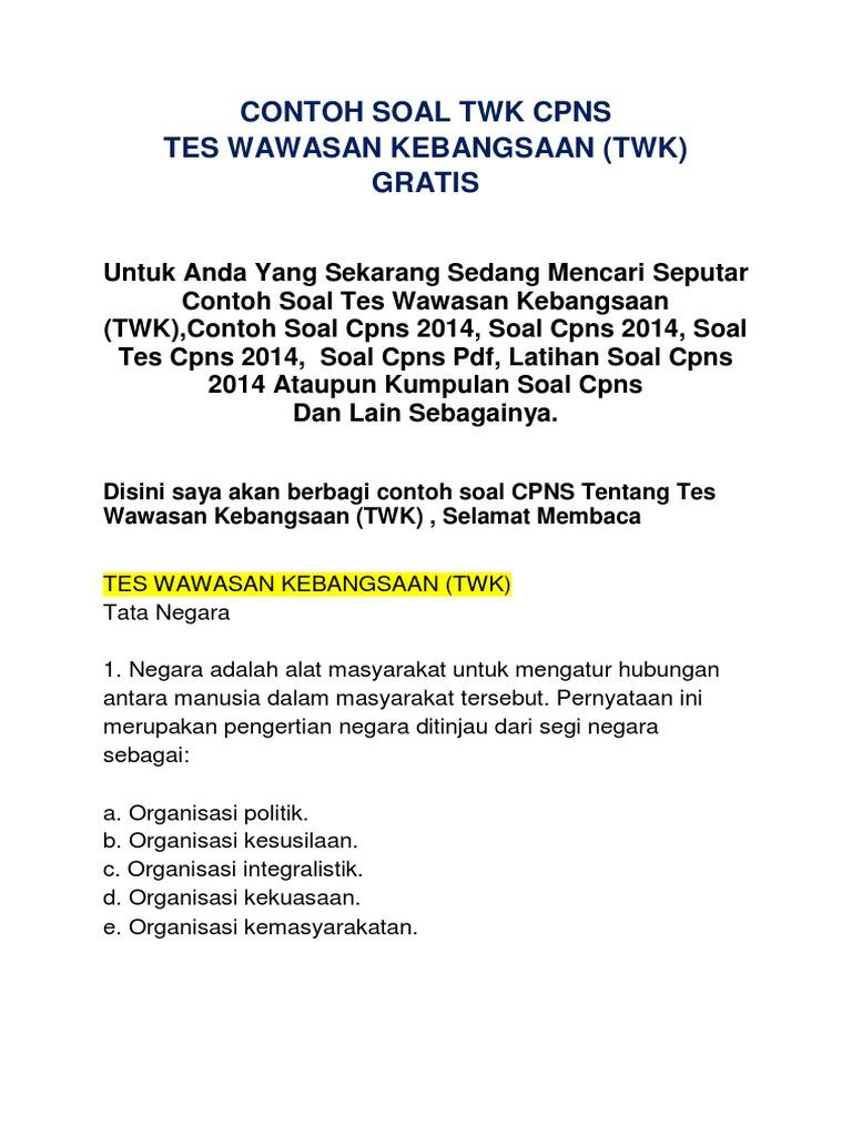 Contoh Soal Cpns Download Soal Tes Wawasan Qwerty