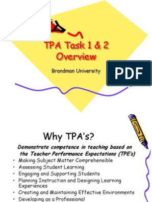 Tpa Task 1 And 2 Powerpoint Pedagogy Educational Assessment