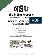 Katalog NSU 251 OSL-351 OT Nachkrieg