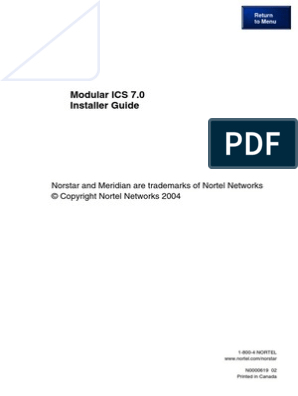 Norstar Meridian MICS 70 Installation Manual Nortel