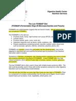 Low FODMAPS Diet - Source Stanford Medical Circa 2014