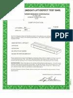 Certificado de Barra Patron de Peso Serie 8671 - Mt