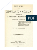 Memoria Sobre Educacion Comun Presentada Al Consejo Universitario de Chile 0