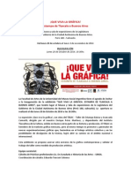 Que Viva La Gráfica - Gacetilla de Prensa
