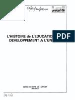 L'HISTOIRE de L'EDUCATION AU  DEVELOPPEMENT A L'UNICEF