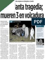 02-11-2014 Causa llanta tragedia;mueren 3 en volcadura