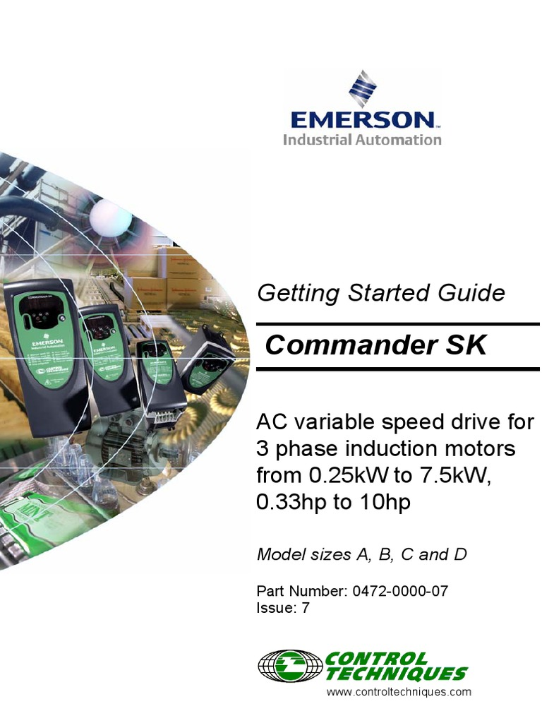 Emerson commander sk getting started guide size a d for Emerson ultratech variable speed motor
