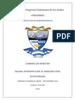 Silabo Introduccion Al Derecho Civil Ecuatoriano